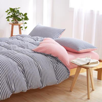 针织棉四件套 小小号床单款1.2m(4英尺)床 粉蓝中密800
