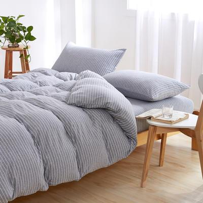 针织棉四件套 小小号床单款1.2m(4英尺)床 灰白细条
