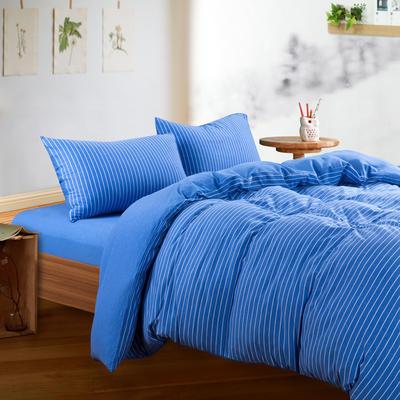 针织棉四件套 小小号床单款1.2m(4英尺)床 蓝白细条800