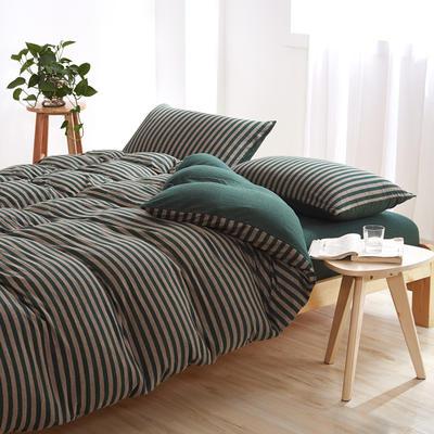 针织棉四件套 大号加大床笠款2.0m(6.6英尺)床 墨绿中条800