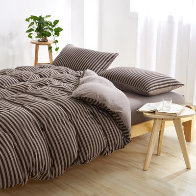 针织棉四件套 小小号床单款1.2m(4英尺)床 深咖中条800
