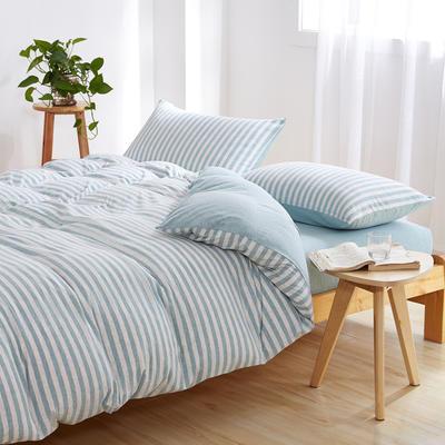 针织棉四件套 小小号床单款1.2m(4英尺)床 水绿中条