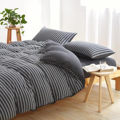 针织棉四件套 小小号床单款1.2m(4英尺)床 炭黑中条800