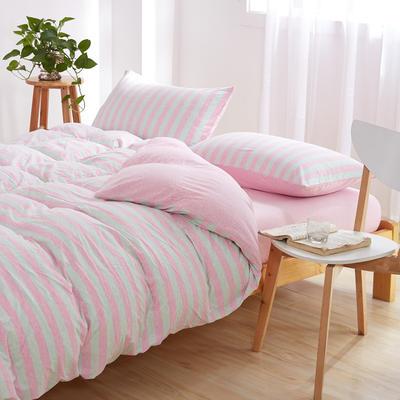 针织棉四件套 小小号床单款1.2m(4英尺)床 桃红柳绿800