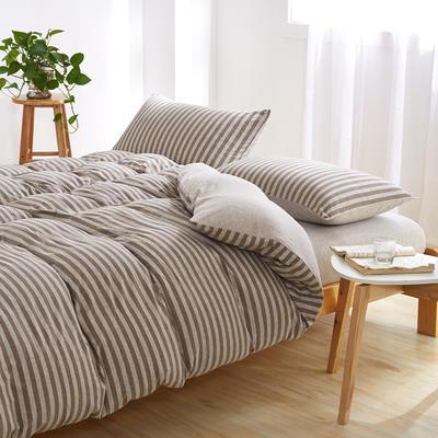 针织棉四件套 小小号床单款1.2m(4英尺)床 中咖中条