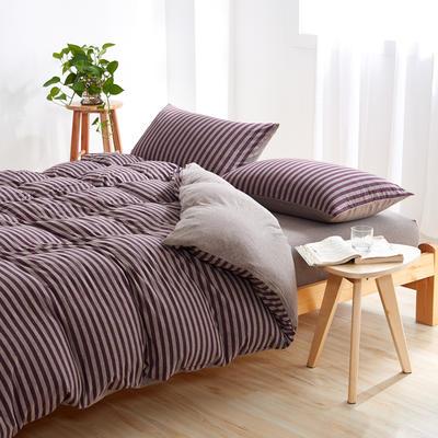 针织棉四件套 小小号床单款1.2m(4英尺)床 紫咖中条800