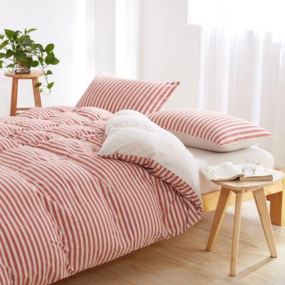 针织棉四件套 大号加大床笠款2.0m(6.6英尺)床 棕红中条800