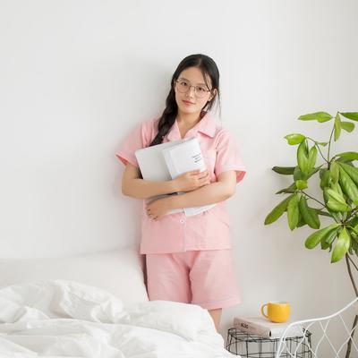 色织水洗棉睡衣-短袖 M 粉色