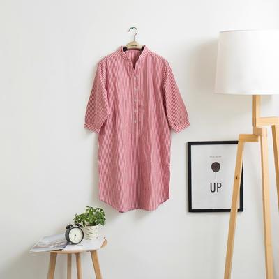 色织水洗棉睡衣-睡裙 M 红细条