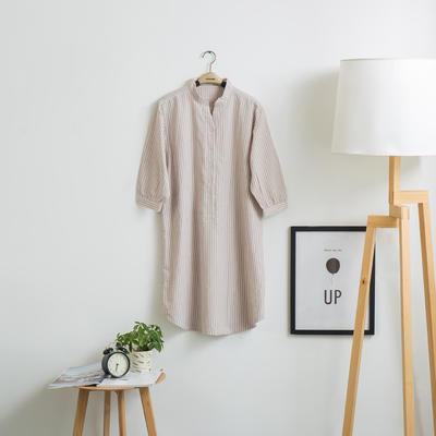色织水洗棉睡衣-睡裙 M 米细条