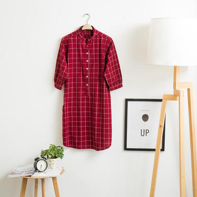 色织水洗棉睡衣-睡裙  XL 盛夏格