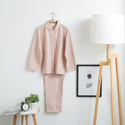 色织水洗棉睡衣-长袖女款 M 女款 粉小格套装