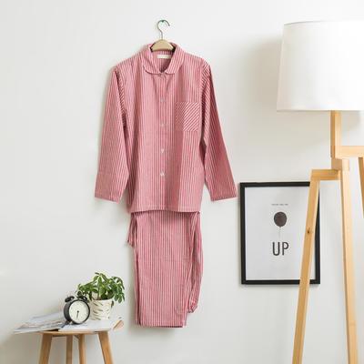 色织水洗棉睡衣-长袖女款 M 女款 红细条套装