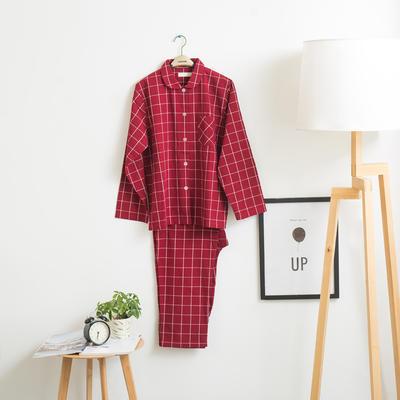 色织水洗棉睡衣-长袖女款 M 女款 红中格 套装