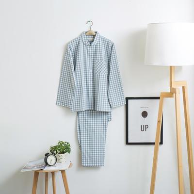 色织水洗棉睡衣-长袖女款  XL 女款 浅蓝小格 套装