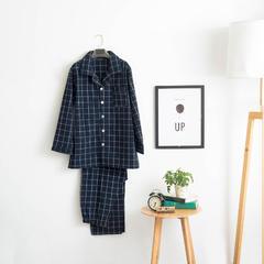 色织水洗棉睡衣-长袖男款  XL 男款 藏蓝中格套装