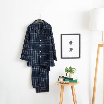 色织水洗棉睡衣-长袖男款 M 男款 藏蓝中格套装