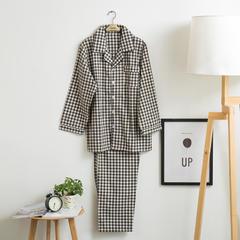 色织水洗棉睡衣-长袖男款  XL 男款 黑小格套装
