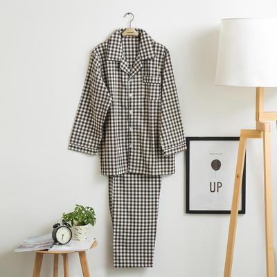 色织水洗棉睡衣-长袖男款 M 男款 黑小格套装