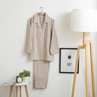 色织水洗棉睡衣-长袖男款  XL 男款 米小格套装
