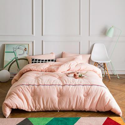 织带款水洗棉冬被 200X230cm 粉色