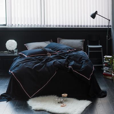 TB英伦风织带款水洗棉四件套 床单款1.5m(5英尺)床 巴洛克-藏青