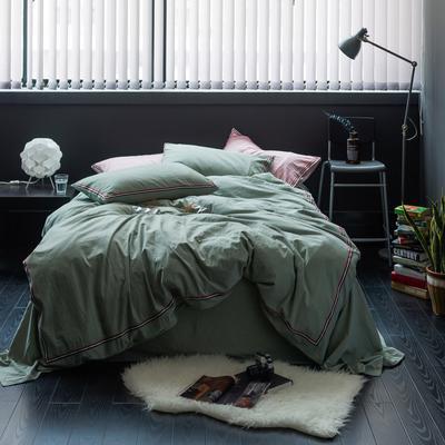 TB英伦风织带款水洗棉四件套 床单款1.5m(5英尺)床 巴洛克-水绿