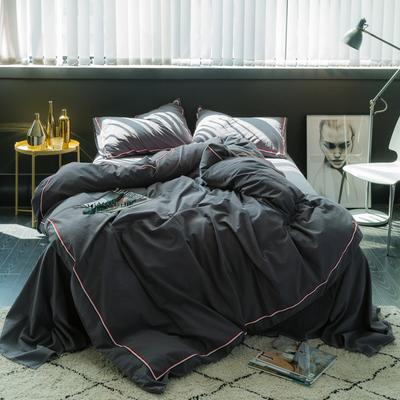 TB英伦风织带款水洗棉四件套 床笠款1.8m(被套加大) 小灰格-B版