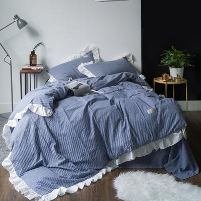 洛丽塔公主风荷叶边 床单款1.5m(5英尺)床 洛丽塔-蓝细条