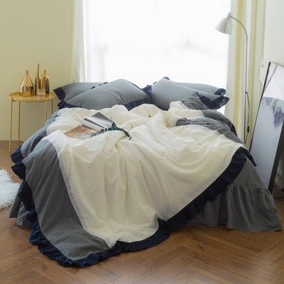 女仆拼接款款 标准1.5m(床裙2.45*2.45) 灰+白