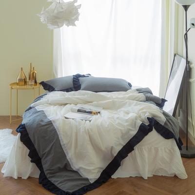 女仆拼接款款 标准床笠款1.5m(5英尺)床 灰+白2