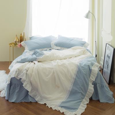 女仆拼接款款 标准1.5m(床裙2.45*2.45) 浅蓝+白