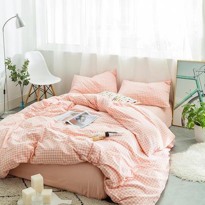 水洗棉四件套基础款新款 小小号床单款1.2m(4英尺)床 果粉小格
