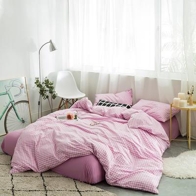 水洗棉四件套基础款新款 小小号床单款1.2m(4英尺)床 果紫小格