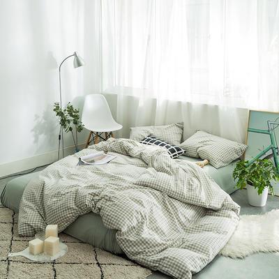 水洗棉四件套基础款新款 小小号床单款1.2m(4英尺)床 嫩绿小格