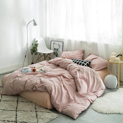 水洗棉四件套基础款新款 小小号床单款1.2m(4英尺)床 小粉格