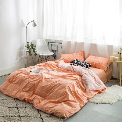 水洗棉AB两用四件套 1.5m(5英尺)床 果粉大格小格