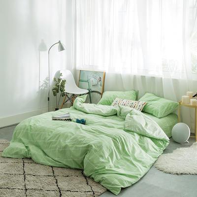 水洗棉AB两用四件套 1.5m(5英尺)床 果绿大格小格
