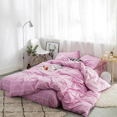 水洗棉AB两用四件套 1.8m(6英尺)床 果紫大格小格