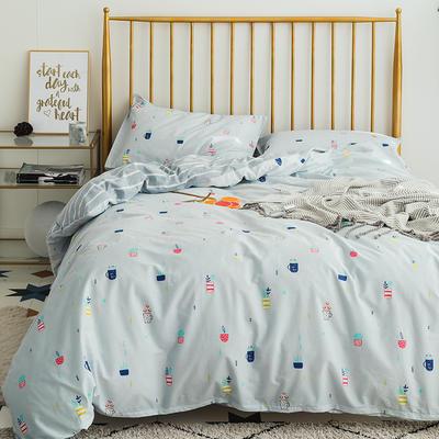 133x72拼色织水洗系列四件套 1.5m(5英尺)床 花盆-兰