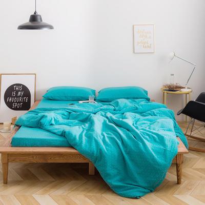十字双层纱系列四件套 标准床笠款1.8m(6英尺)床 兰色