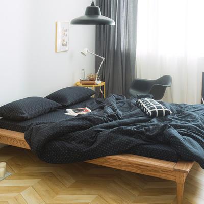 十字双层纱系列四件套 1.5m(5英尺)床 藏青