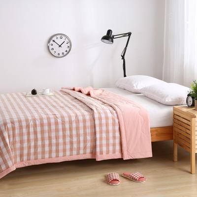 水洗棉系列夏被 120x150cm 粉白中小格