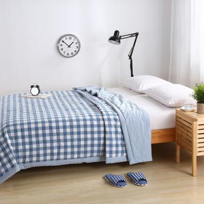 水洗棉系列夏被 120x150cm 蓝白中小格