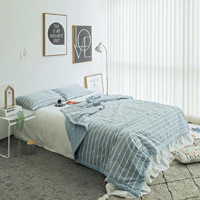 水洗棉系列夏被 150x200cm 浅蓝宽条
