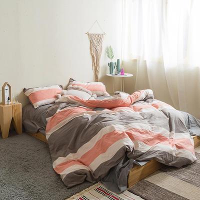 水洗棉四件套基础款新款 小小号床单款1.2m(4英尺)床 比萨尔