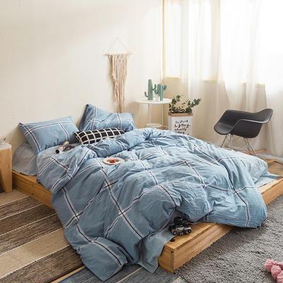 水洗棉四件套基础款新款 小小号床单款1.2m(4英尺)床 大兰格