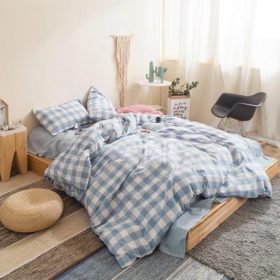 水洗棉四件套基础款新款 小小号床单款1.2m(4英尺)床 嫩兰中格