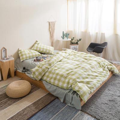 水洗棉四件套基础款新款 小小号床单款1.2m(4英尺)床 嫩绿中格