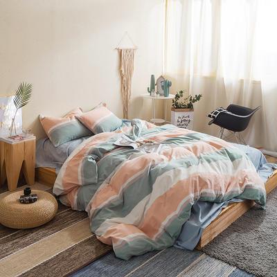 水洗棉四件套基础款新款 小号床笠款1.5m(5英尺)床 左岸光年-桔